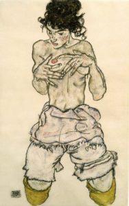 illustration épisode 1 la découverte du cancer du sein, femme agenouillée, à moitié nue II - dessin au crayon de Egon Schiele