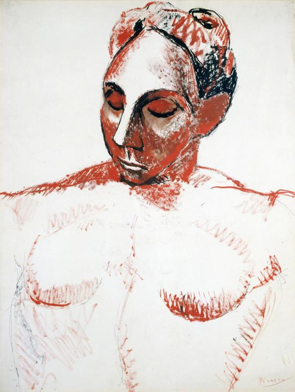 """femme à la tête rouge Picasso pour illustrer le 8ème épisode du podcast """"guerilla du sein"""" la politique de la terre brûlée ou les effets de la radiothérapie"""